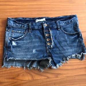 Free People Denim Distressed Button Up Shorts